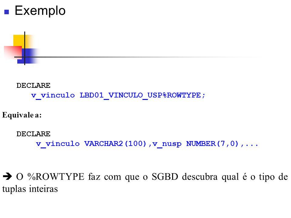 DECLARE v_vinculo LBD01_VINCULO_USP%ROWTYPE; Equivale a: DECLARE v_vinculo VARCHAR2(100),v_nusp NUMBER(7,0),... O %ROWTYPE faz com que o SGBD descubra