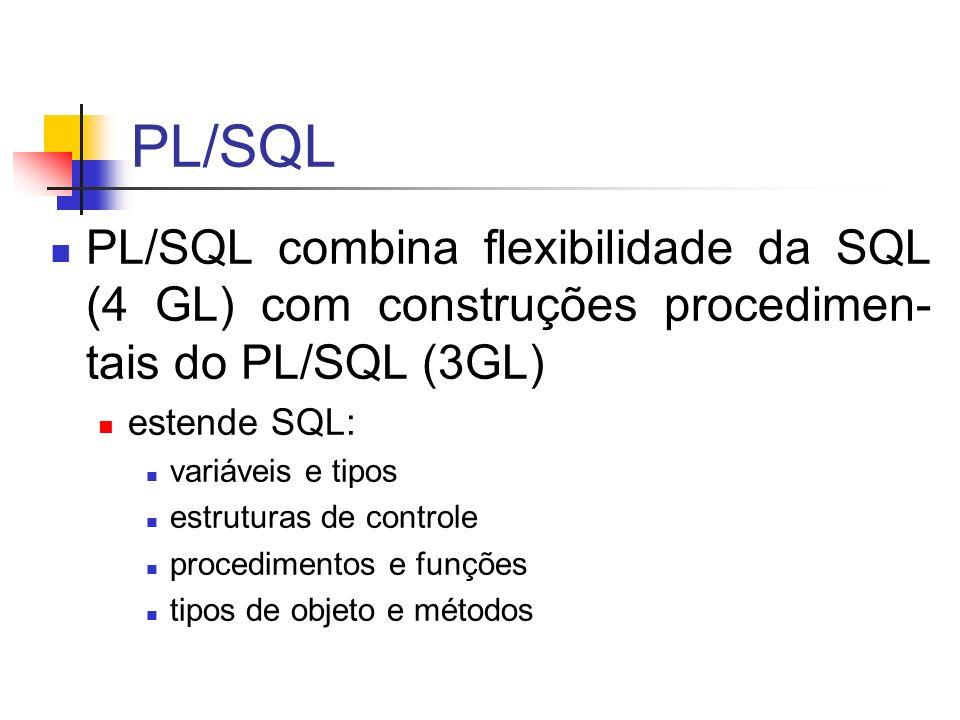 PL/SQL PL/SQL combina flexibilidade da SQL (4 GL) com construções procedimen- tais do PL/SQL (3GL) estende SQL: variáveis e tipos estruturas de contro