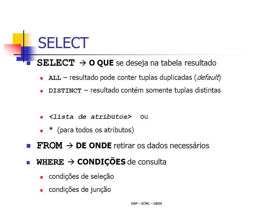 USP – ICMC – GBDI SELECT O QUE se deseja na tabela resultado ALL – resultado pode conter tuplas duplicadas (default) DISTINCT – resultado contém somen