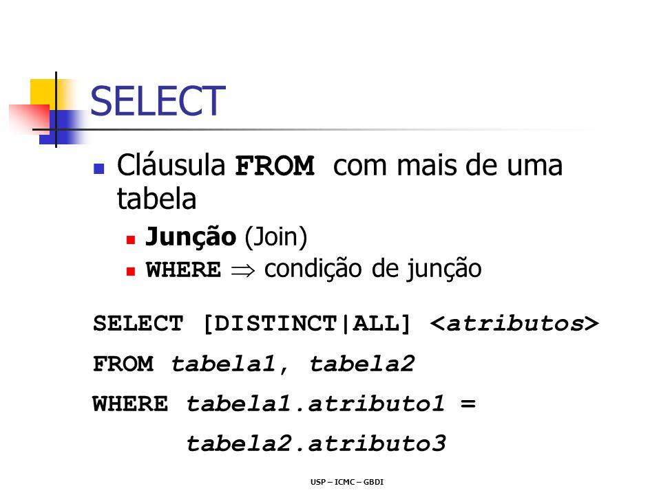 USP – ICMC – GBDI SELECT Cláusula FROM com mais de uma tabela Junção (Join) WHERE condição de junção SELECT [DISTINCT|ALL] FROM tabela1, tabela2 WHERE