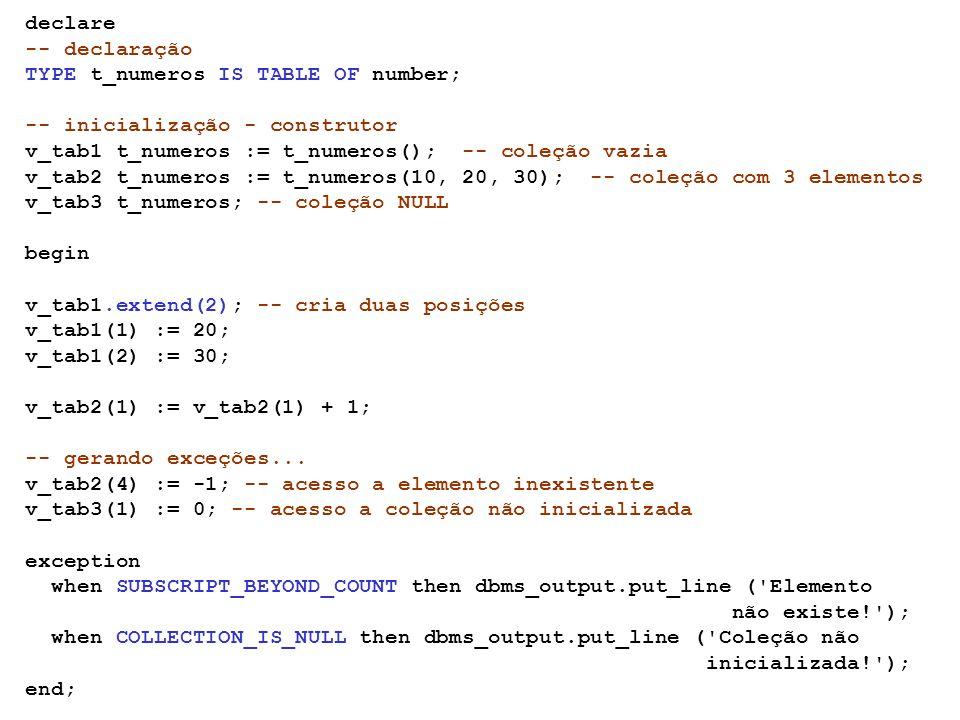 Coleções VARRAY semelhante a um array (de tamanho variável) em C ou Java valores contíguos em memória chaves devem ser seqüenciais não podem ser negativas número máximo de posições definido na declaração tamanho do vetor corresponde ao nro de elementos armazenados não podem ser esparsos elementos removidos somente do final do array precisam ser inicializados TYPE type_name IS {VARRAY | VARYING ARRAY} (size_limit) OF element_type [NOT NULL]; JoãoAnaLiaJosé x(1) x(2) x(3) x(4)