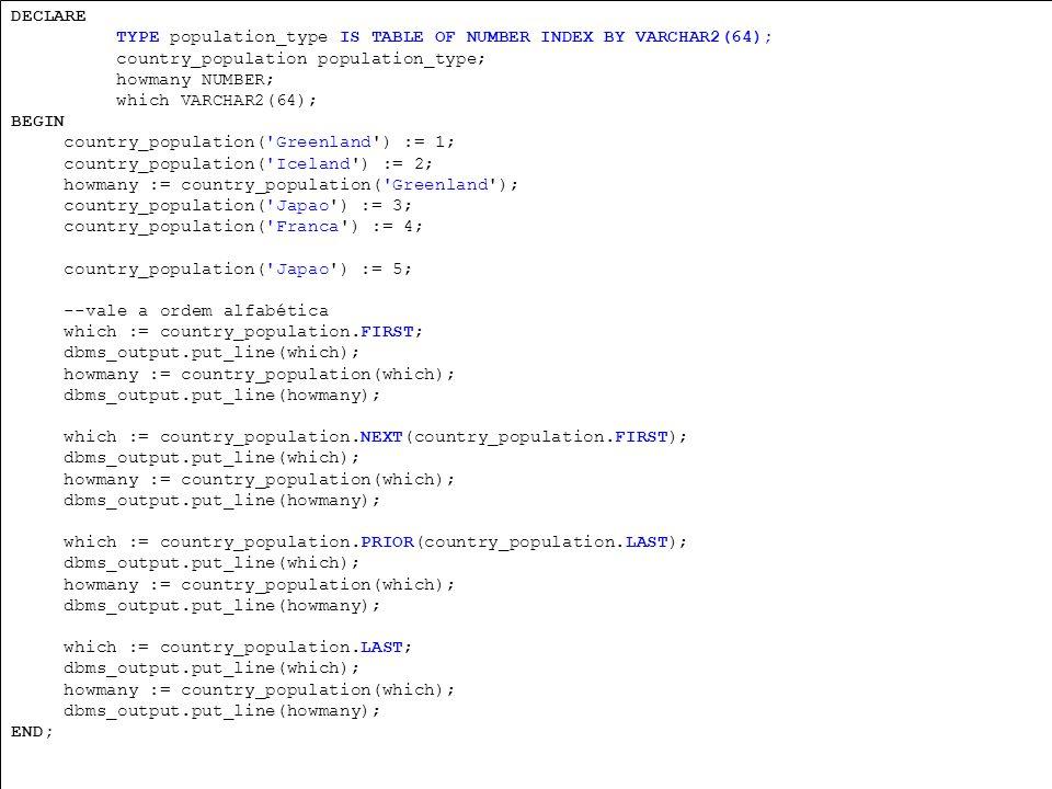 PL/SQL Registros e coleções manipulação de várias variáveis Registro TYPE t_aluno IS RECORD ( nome aluno.nome%type, nusp aluno.nusp%type ); v_aluno t_aluno;