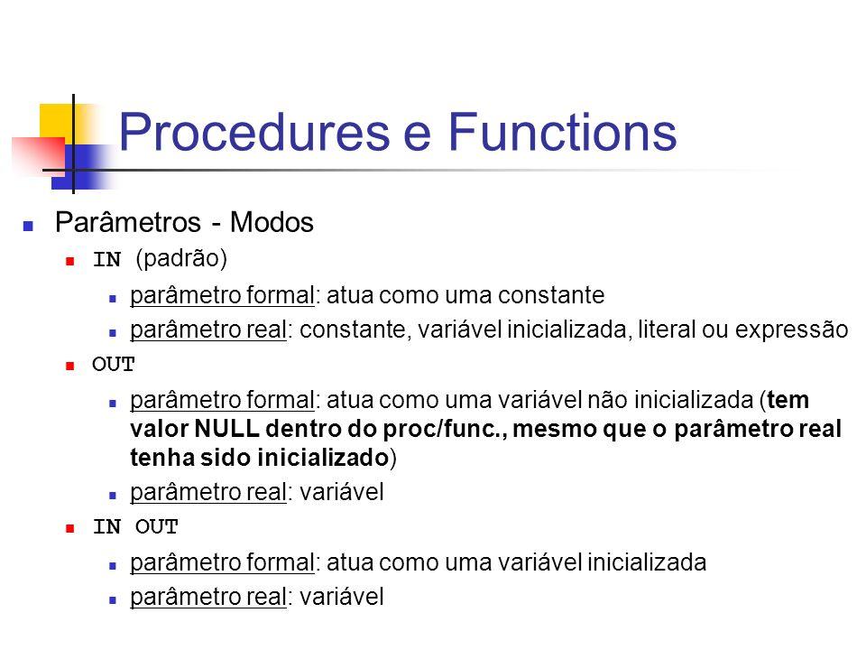 Procedures e Functions Parâmetros - Modos IN (padrão) parâmetro formal: atua como uma constante parâmetro real: constante, variável inicializada, lite