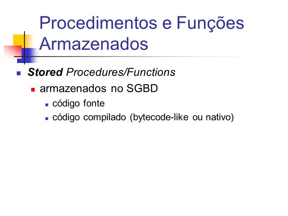 Procedimentos armazenados CREATE OR REPLACE PROCEDURE insere_matricula ( p_disciplina Matricula.Sigla%TYPE, p_turma Matricula.Numero%TYPE, p_aluno Matricula.Aluno%TYPE ) AS /*pode ser IS*/ v_count NUMBER; e_lotada EXCEPTION; BEGIN SELECT COUNT(*) INTO v_count FROM matricula M WHERE M.sigla = p_disciplina and M.numero = p_turma and M.ano = EXTRACT (YEAR FROM SYSDATE); IF v_count < 70 THEN insert into matricula values (p_disciplina, p_turma, p_aluno, EXTRACT (YEAR FROM SYSDATE), NULL); ELSE RAISE e_lotada; END IF; EXCEPTION WHEN e_lotada THEN.....