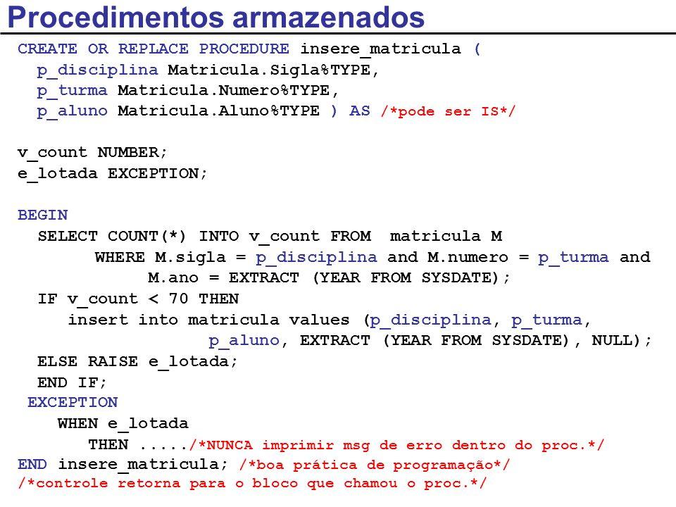 /*Programa Principal – PL/SQL anônimo*/ DECLARE v_disciplina Matricula.Sigla%TYPE; v_turma Matricula.Numero%TYPE; v_aluno Matricula.Aluno%TYPE; BEGIN v_disciplina := SCC241 ; v_turma := 1; v_aluno := 222; /*Parâmetros: notação posicional*/ insere_matricula(v_disciplina, v_turma, v_aluno); END; Procedimentos armazenados