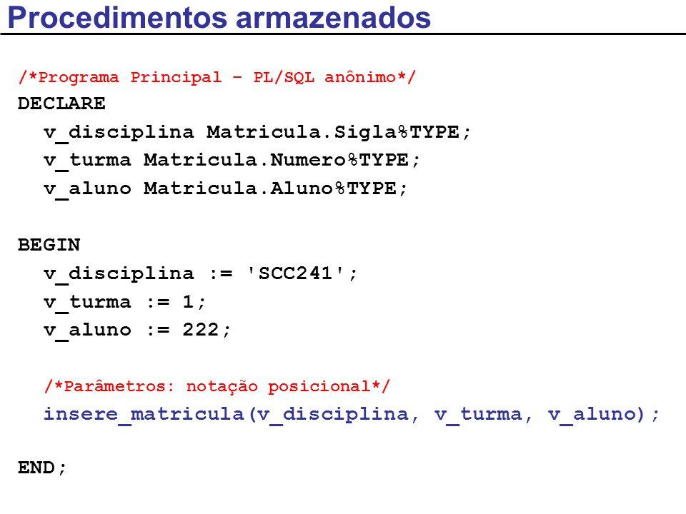 /*Programa Principal – PL/SQL anônimo*/ DECLARE v_disciplina Matricula.Sigla%TYPE; v_turma Matricula.Numero%TYPE; v_aluno Matricula.Aluno%TYPE; BEGIN v_disciplina := SCC241 ; v_turma := 1; v_aluno := 222; /*Parâmetros: notação identificada*/ insere_matricula(p_aluno => v_aluno, p_disciplina => v_disciplina, p_turma => v_turma); END; Procedimentos armazenados