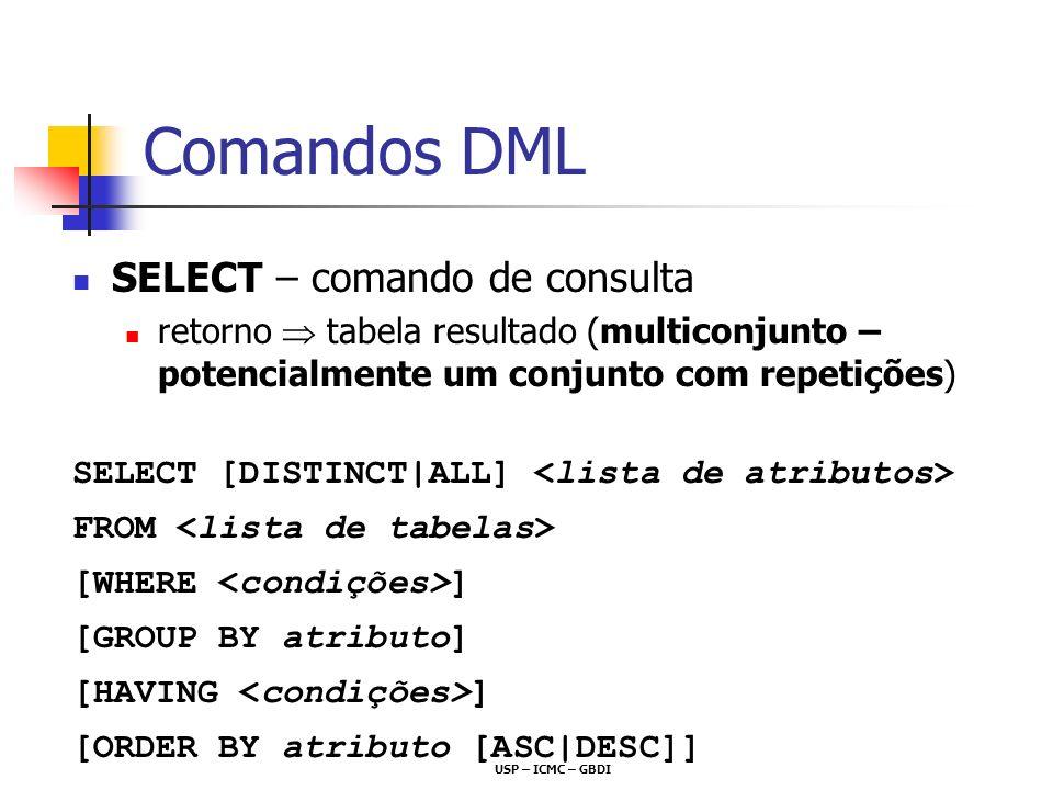 USP – ICMC – GBDI Comandos DML SELECT – comando de consulta retorno tabela resultado (multiconjunto – potencialmente um conjunto com repetições) SELEC