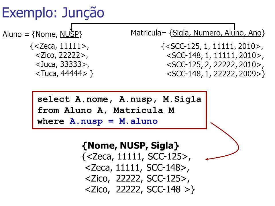 Exemplo: Junção Matricula= {Sigla, Numero, Aluno, Ano} {,, } {,, } Aluno = {Nome, NUSP} select A.nome, A.nusp, M.Sigla from Aluno A, Matricula M where