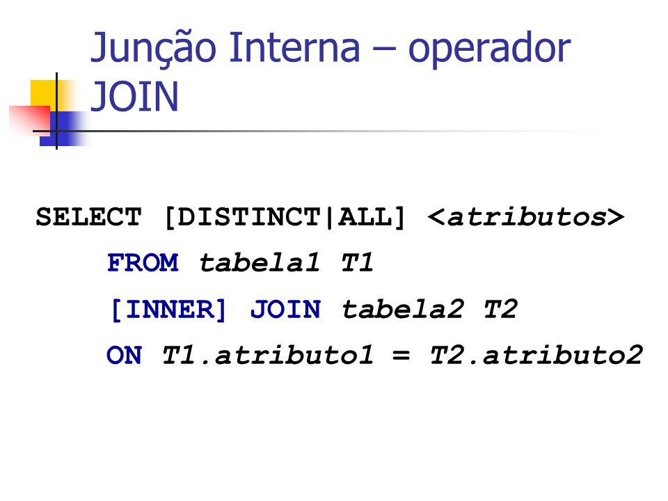 Aluno = {Nome, Nusp, Idade, DataNasc} Disciplina = {Sigla, Nome, NCred, Professor, Livro, Monitor} Matrícula = {Sigla, Numero, Aluno, Ano, Nota} select nome, nusp from aluno A where EXISTS (select NULL from matricula M where M.aluno = A.nusp) and EXISTS (select NULL from disciplina D where D.monitor = A.nusp ) EXEMPLO: - Selecionar nome e nusp dos alunos que estão matriculados em alguma disciplina e que são monitores de qualquer disciplina Qualquer subconsulta pode ser usada com exists, no entanto, seu uso só faz sentido se a subconsulta referenciar dados da consulta principal; É necessário o uso do nome de atributos da consulta principal para determinar a correlação entre consultas; Tabelas da consulta principal, se referenciadas explicitamente com alias, devem ser referenciadas com alias também na subconsulta.