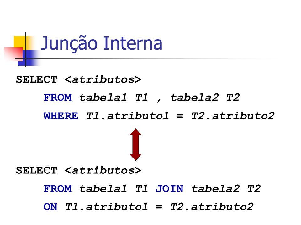 Junções Externas SELECT [DISTINCT|ALL] FROM tabela1 T1 [LEFT | RIGHT |FULL] JOIN tabela2 T2 ON T1.atributo1 = T2.atributo2