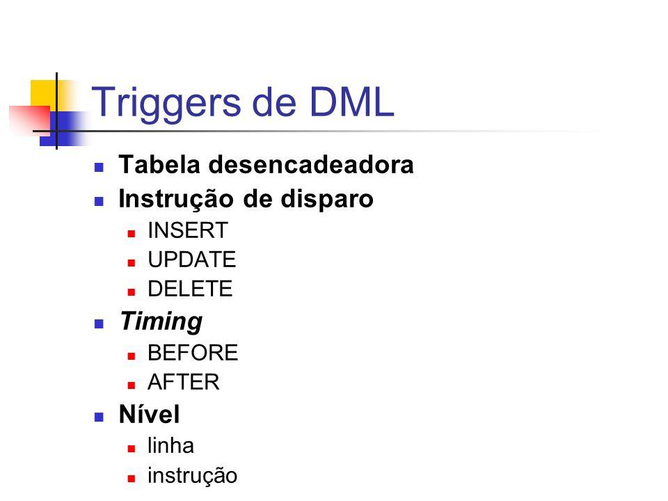 Triggers de DML Tabela desencadeadora Instrução de disparo INSERT UPDATE DELETE Timing BEFORE AFTER Nível linha instrução