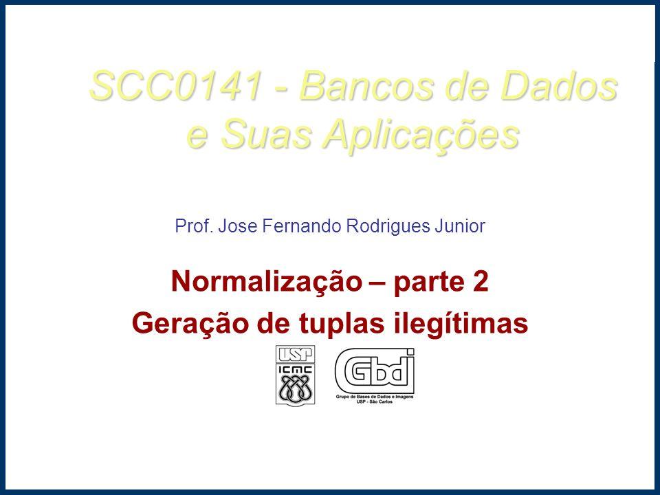 SCC0141 - Bancos de Dados e Suas Aplicações Prof. Jose Fernando Rodrigues Junior Normalização – parte 2 Geração de tuplas ilegítimas