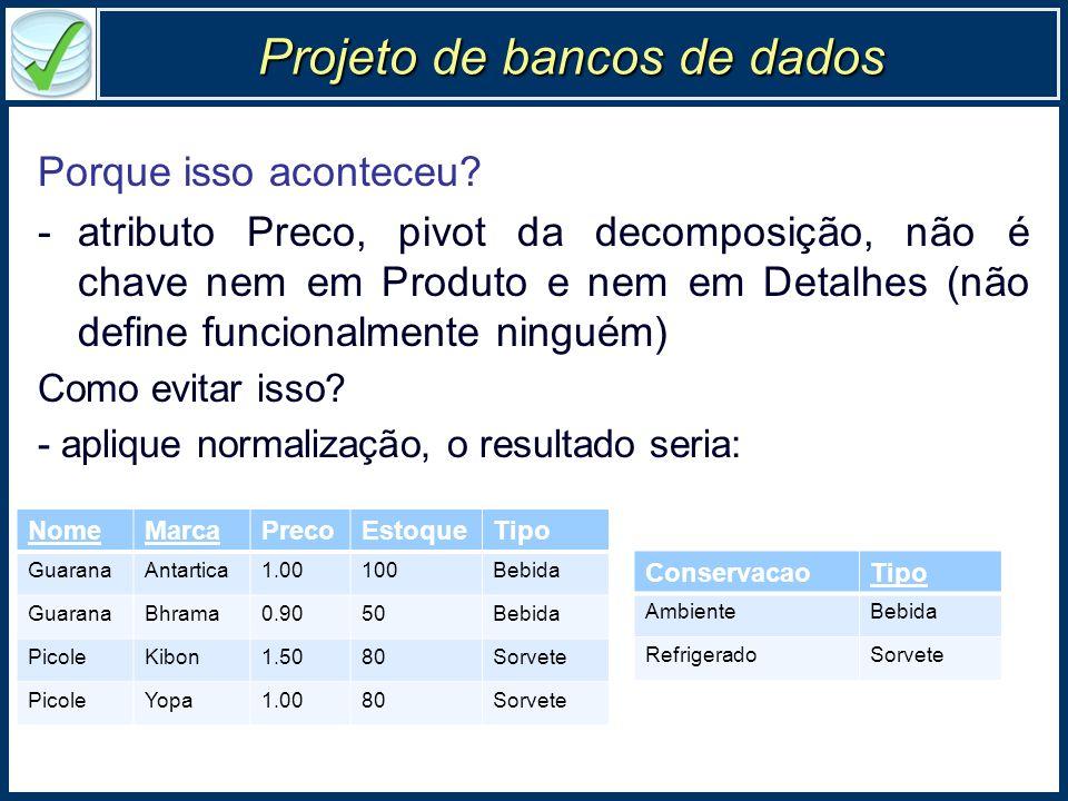 Projeto de bancos de dados Porque isso aconteceu? -atributo Preco, pivot da decomposição, não é chave nem em Produto e nem em Detalhes (não define fun