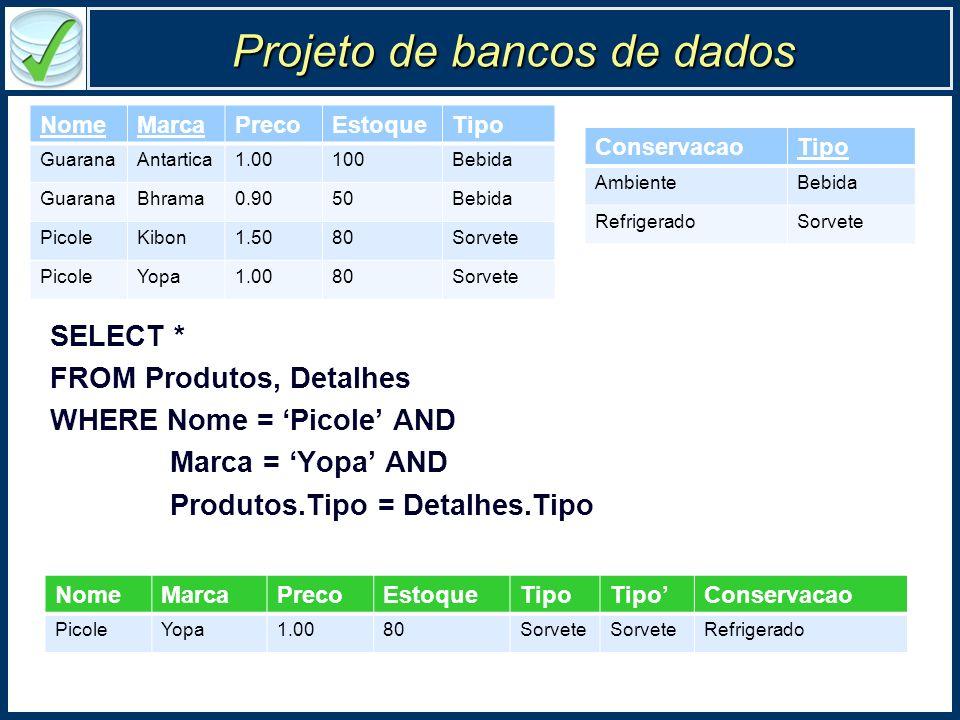 Projeto de bancos de dados SELECT * FROM Produtos, Detalhes WHERE Nome = Picole AND Marca = Yopa AND Produtos.Tipo = Detalhes.Tipo NomeMarcaPrecoEstoq