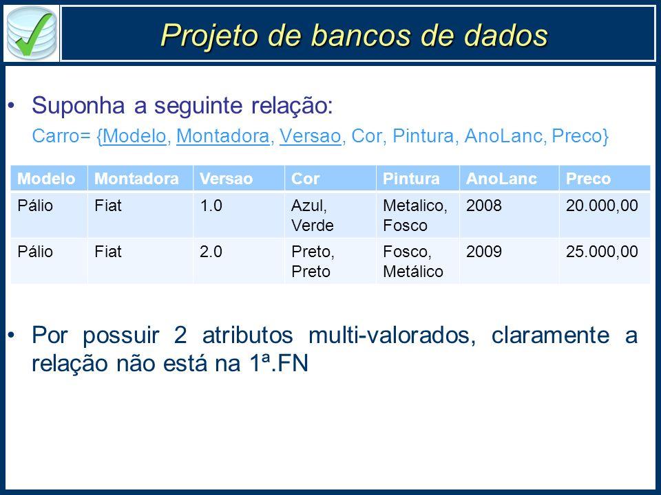Projeto de bancos de dados Suponha a seguinte relação: Carro= {Modelo, Montadora, Versao, Cor, Pintura, AnoLanc, Preco} Por possuir 2 atributos multi-