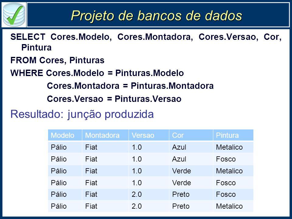 Projeto de bancos de dados SELECT Cores.Modelo, Cores.Montadora, Cores.Versao, Cor, Pintura FROM Cores, Pinturas WHERE Cores.Modelo = Pinturas.Modelo