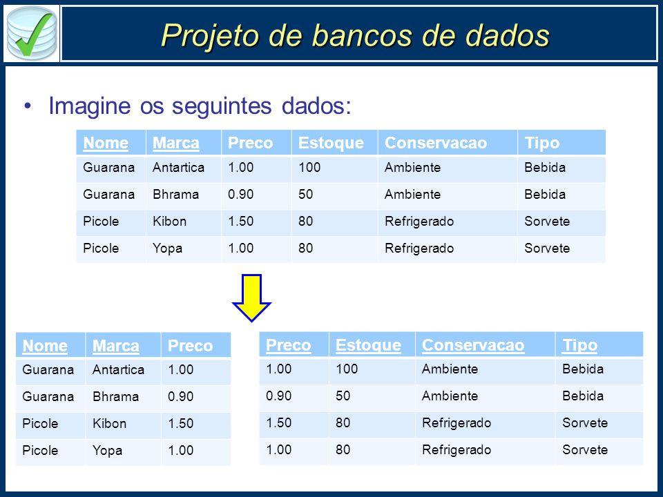 Projeto de bancos de dados Imagine os seguintes dados: NomeMarcaPrecoEstoqueConservacaoTipo GuaranaAntartica1.00100AmbienteBebida GuaranaBhrama0.9050A