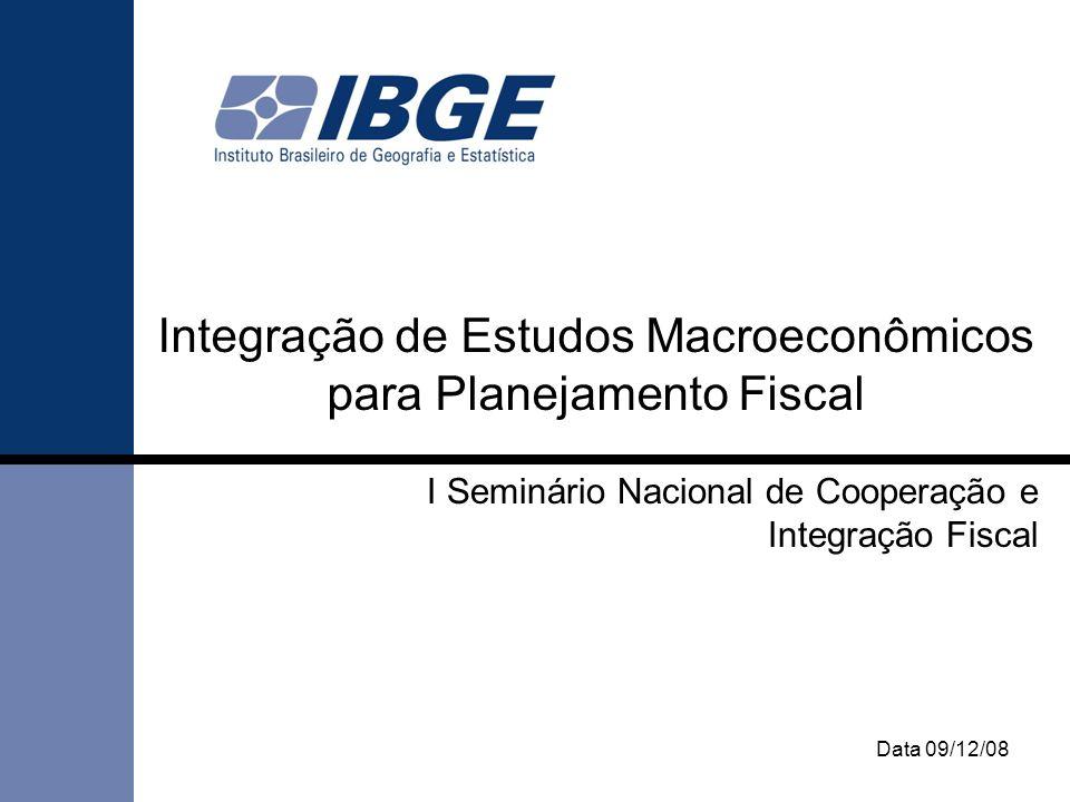 Data 09/12/08 Integração de Estudos Macroeconômicos para Planejamento Fiscal I Seminário Nacional de Cooperação e Integração Fiscal