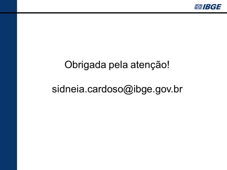 Obrigada pela atenção! sidneia.cardoso@ibge.gov.br