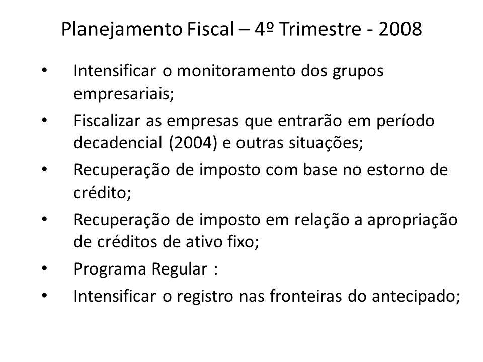 Planejamento Fiscal – 4º Trimestre- 2008 Operações Pontuais ( trigo, bebidas supermercados, medicamentos, comunicação); Intensificar a cobrança das empresas omissas de DIEF e SINTEGRA.