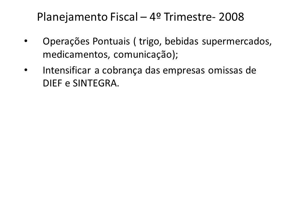Planejamento Fiscal – 4º Trimestre- 2008 Operações Pontuais ( trigo, bebidas supermercados, medicamentos, comunicação); Intensificar a cobrança das em