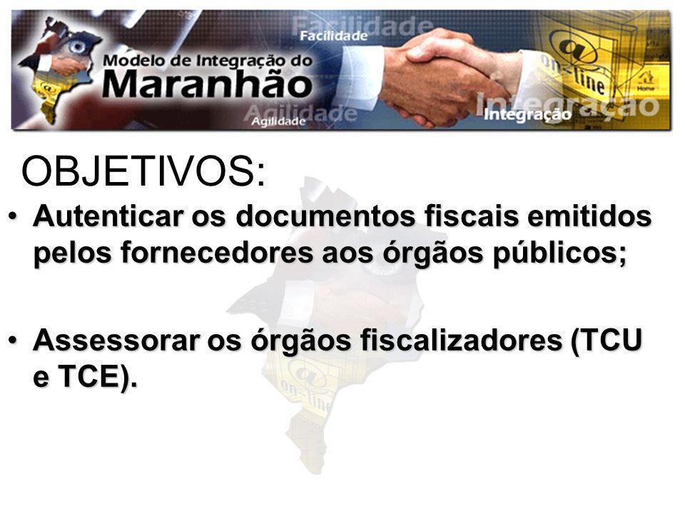 OBJETIVOS: Autenticar os documentos fiscais emitidos pelos fornecedores aos órgãos públicos;Autenticar os documentos fiscais emitidos pelos fornecedor
