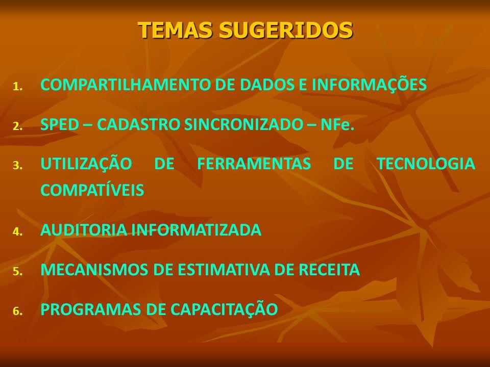 TEMAS SUGERIDOS 1. COMPARTILHAMENTO DE DADOS E INFORMAÇÕES 2.