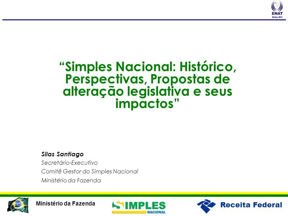 Receita Federal Ministério da Fazenda Simples Nacional: Histórico, Perspectivas, Propostas de alteração legislativa e seus impactos Silas Santiago Sec