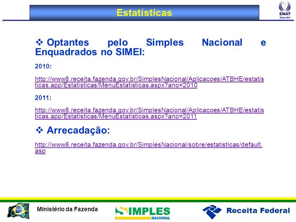 Receita Federal Ministério da Fazenda Estatísticas Optantes pelo Simples Nacional e Enquadrados no SIMEI: 2010: http://www8.receita.fazenda.gov.br/Sim
