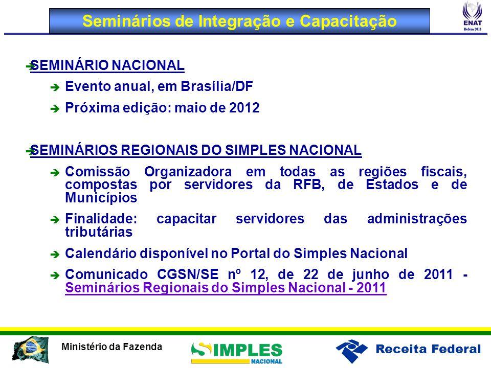 Receita Federal Ministério da Fazenda Seminários de Integração e Capacitação SEMINÁRIO NACIONAL Evento anual, em Brasília/DF Próxima edição: maio de 2