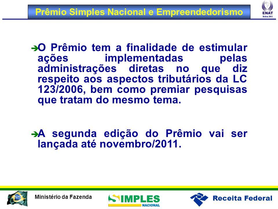 Receita Federal Ministério da Fazenda O Prêmio tem a finalidade de estimular ações implementadas pelas administrações diretas no que diz respeito aos