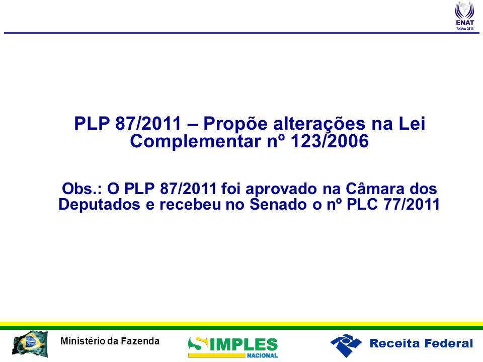 Receita Federal Ministério da Fazenda PLP 87/2011 – Propõe alterações na Lei Complementar nº 123/2006 Obs.: O PLP 87/2011 foi aprovado na Câmara dos D
