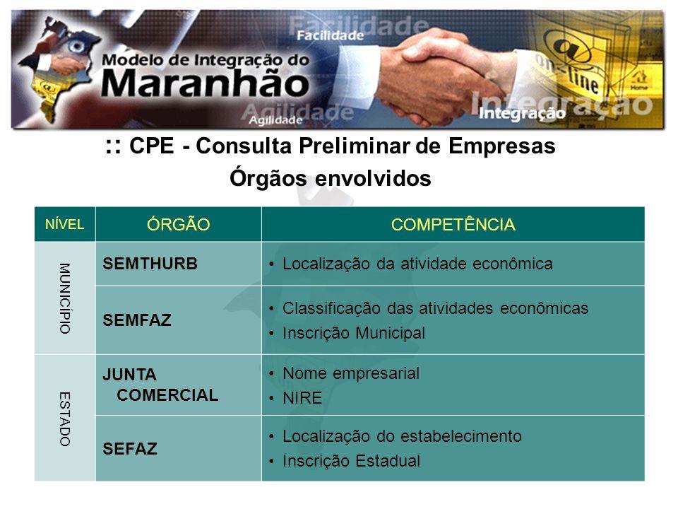 :: CPE - Consulta Preliminar de Empresas Órgãos envolvidos NÍVEL ÓRGÃOCOMPETÊNCIA MUNICÍPIO SEMTHURBLocalização da atividade econômica SEMFAZ Classifi