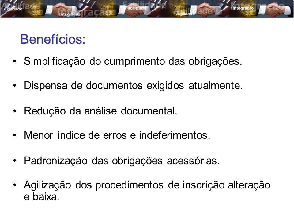 Simplificação do cumprimento das obrigações. Dispensa de documentos exigidos atualmente. Redução da análise documental. Menor índice de erros e indefe