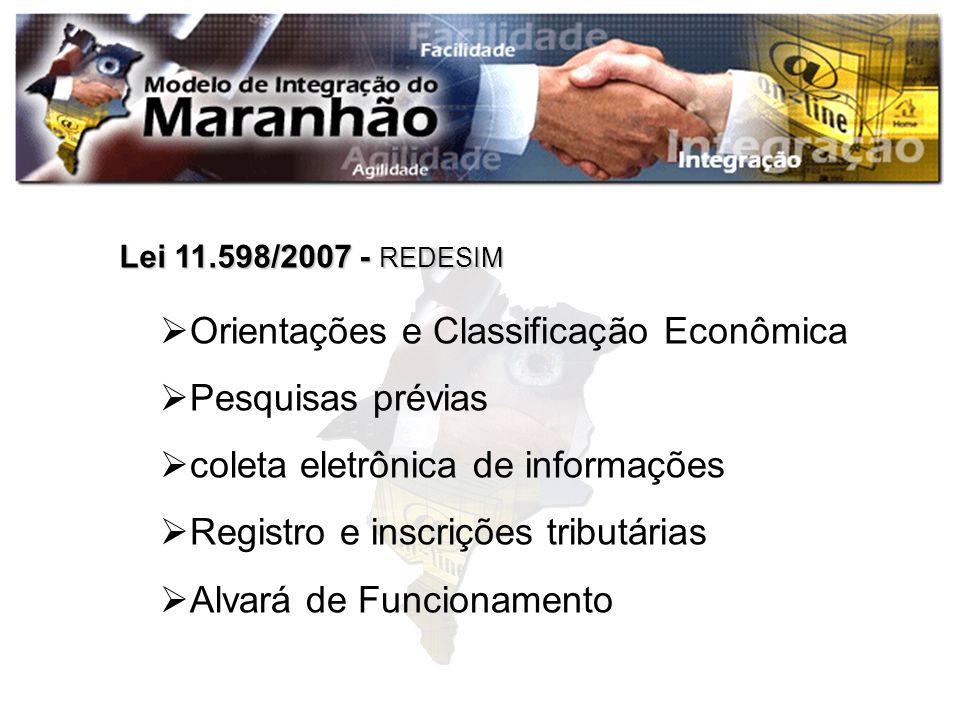 Orientações e Classificação Econômica Pesquisas prévias coleta eletrônica de informações Registro e inscrições tributárias Alvará de Funcionamento Lei
