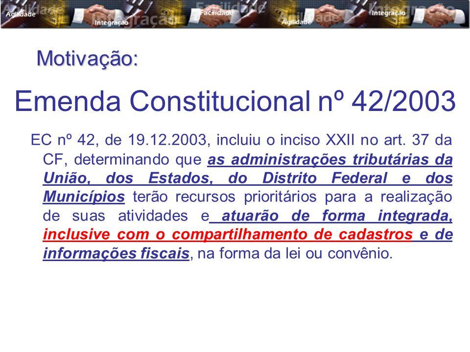 EC nº 42, de 19.12.2003, incluiu o inciso XXII no art. 37 da CF, determinando que as administrações tributárias da União, dos Estados, do Distrito Fed