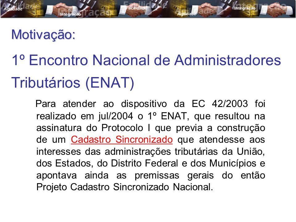 Para atender ao dispositivo da EC 42/2003 foi realizado em jul/2004 o 1º ENAT, que resultou na assinatura do Protocolo I que previa a construção de um