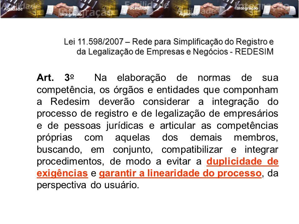Art. 3 o Na elaboração de normas de sua competência, os órgãos e entidades que componham a Redesim deverão considerar a integração do processo de regi