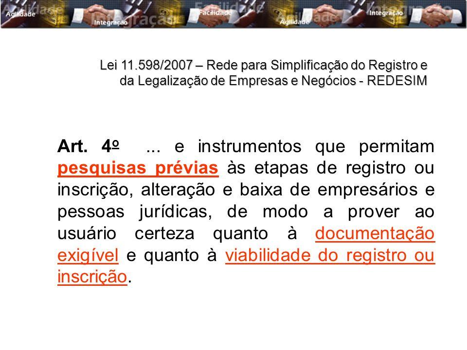 Art. 4 o... e instrumentos que permitam pesquisas prévias às etapas de registro ou inscrição, alteração e baixa de empresários e pessoas jurídicas, de