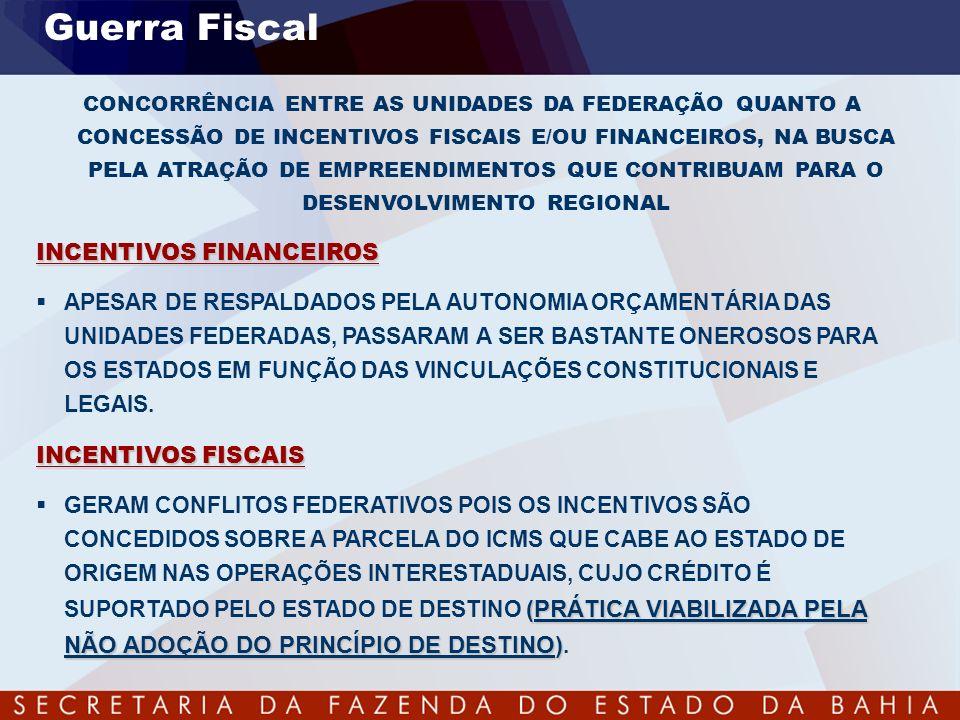 Guerra Fiscal CONCORRÊNCIA ENTRE AS UNIDADES DA FEDERAÇÃO QUANTO A CONCESSÃO DE INCENTIVOS FISCAIS E/OU FINANCEIROS, NA BUSCA PELA ATRAÇÃO DE EMPREEND