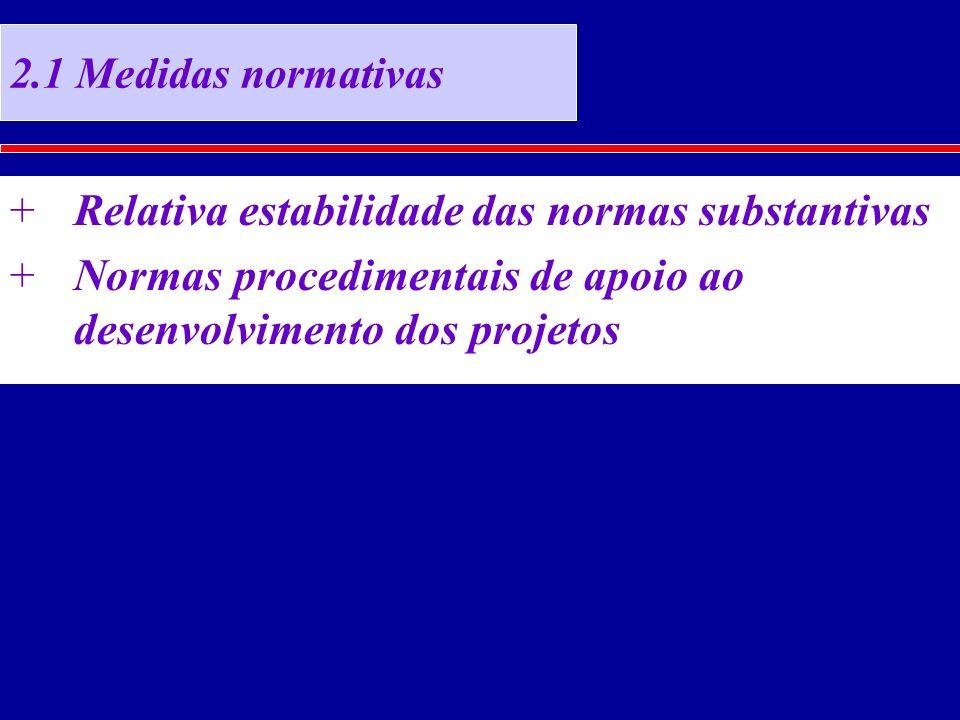2.1 Medidas normativas +Relativa estabilidade das normas substantivas +Normas procedimentais de apoio ao desenvolvimento dos projetos