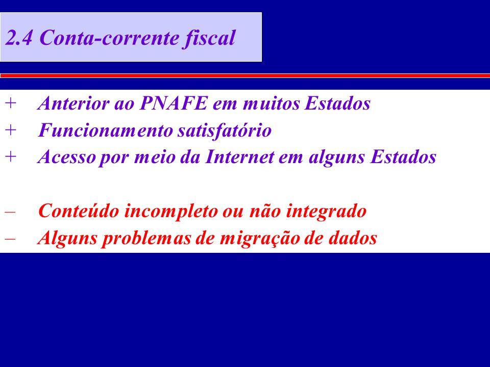 2.4 Conta-corrente fiscal +Anterior ao PNAFE em muitos Estados +Funcionamento satisfatório +Acesso por meio da Internet em alguns Estados –Conteúdo incompleto ou não integrado –Alguns problemas de migração de dados