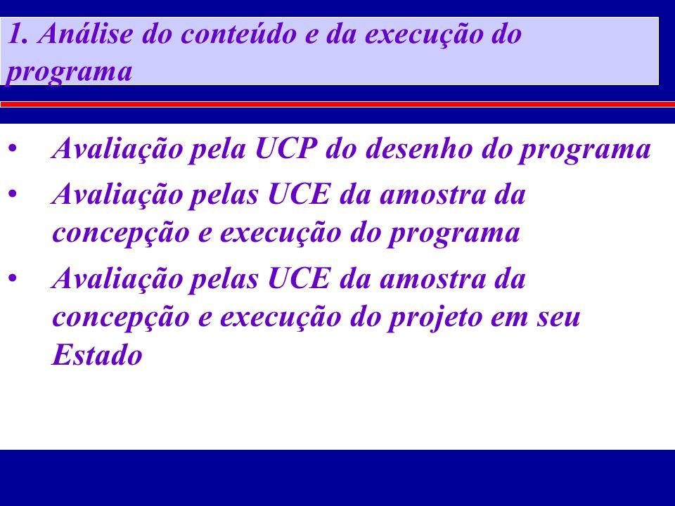 1. Análise do conteúdo e da execução do programa Avaliação pela UCP do desenho do programa Avaliação pelas UCE da amostra da concepção e execução do p
