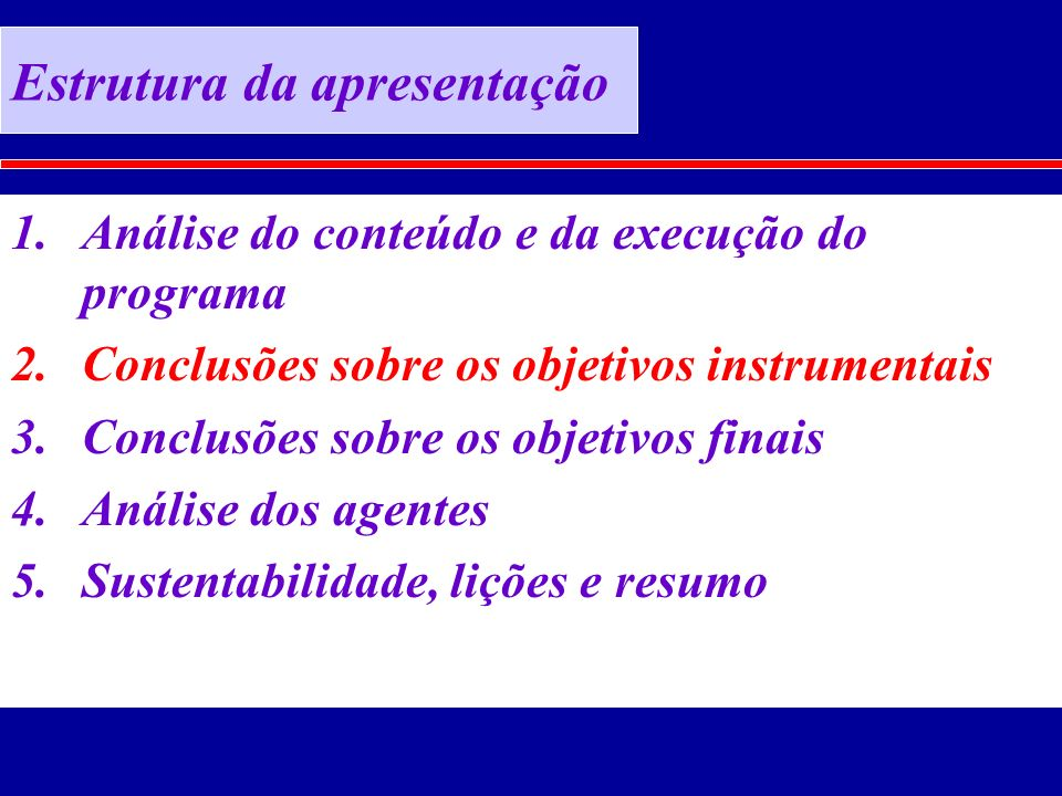 Estrutura da apresentação 1.Análise do conteúdo e da execução do programa 2.Conclusões sobre os objetivos instrumentais 3.Conclusões sobre os objetivos finais 4.Análise dos agentes 5.Sustentabilidade, lições e resumo