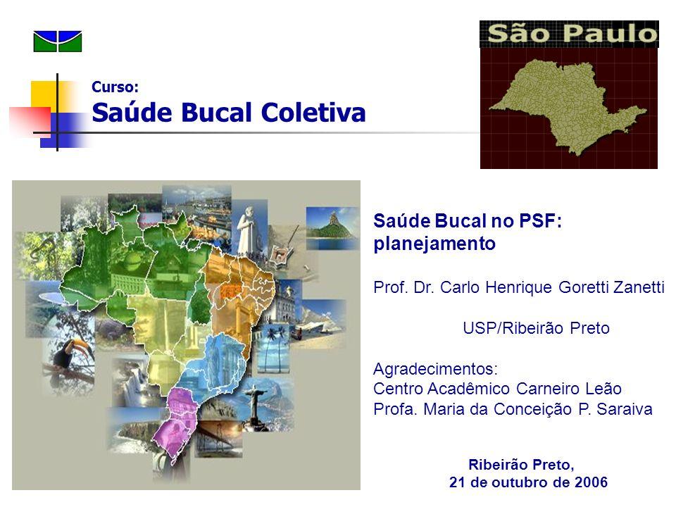 Saúde Bucal no PSF: planejamento Prof. Dr. Carlo Henrique Goretti Zanetti USP/Ribeirão Preto Agradecimentos: Centro Acadêmico Carneiro Leão Profa. Mar