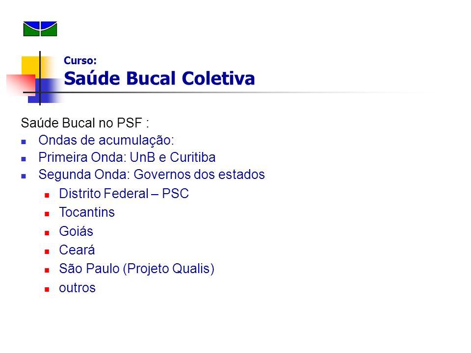 Saúde Bucal no PSF : Ondas de acumulação: Primeira Onda: UnB e Curitiba Segunda Onda: Governos dos estados Distrito Federal – PSC Tocantins Goiás Cear