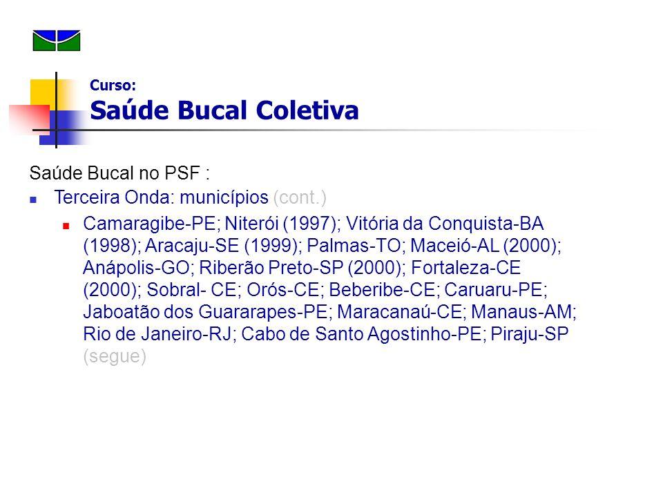 Saúde Bucal no PSF : Terceira Onda: municípios (cont.) Camaragibe-PE; Niterói (1997); Vitória da Conquista-BA (1998); Aracaju-SE (1999); Palmas-TO; Ma