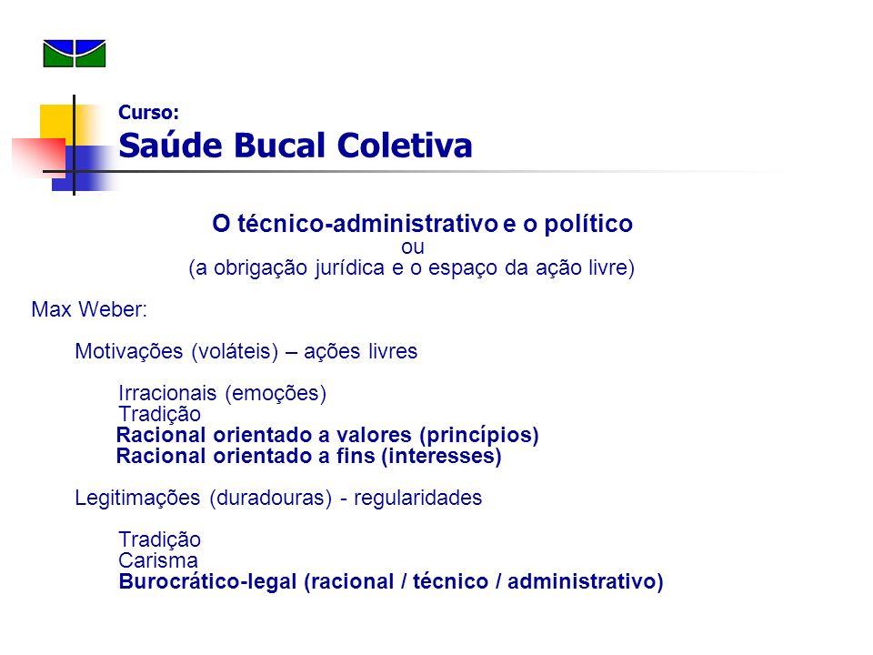 O técnico-administrativo e o político ou (a obrigação jurídica e o espaço da ação livre) Max Weber: Motivações (voláteis) – ações livres Irracionais (