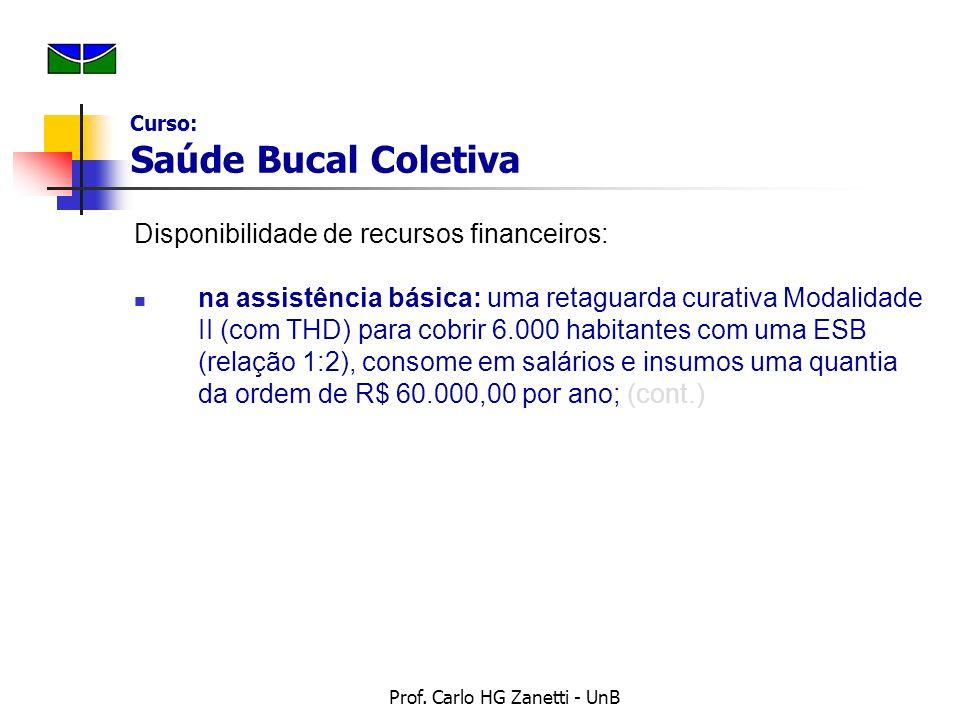 Prof. Carlo HG Zanetti - UnB Disponibilidade de recursos financeiros: na assistência básica: uma retaguarda curativa Modalidade II (com THD) para cobr