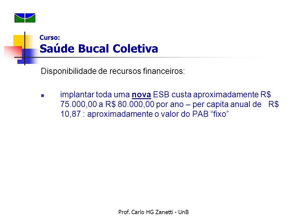 Prof. Carlo HG Zanetti - UnB Disponibilidade de recursos financeiros: implantar toda uma nova ESB custa aproximadamente R$ 75.000,00 a R$ 80.000,00 po